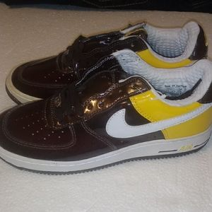 Nike Air Force 1-Brown/Yellow/Clear-Size 7.5